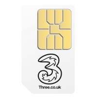 3 Pay as you go pre-pay micro sim card for iPad