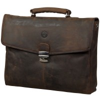 Dbramante1928 Leather Laptop Bag in Hunter Brown
