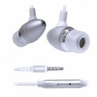 Pama iPhone stereo earphones with mic and remote - silver