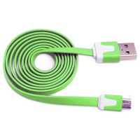 Pama tangle free flat micro USB data cable 1m - green