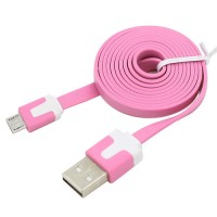 Pama tangle free flat micro USB data cable 1m - pink