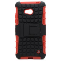 Pama protective hard shell with stand for Nokia Lumia 640 in black/red