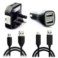 Pama Plug N Go Universal USB Charger Kit - USB Leads, Car and UK Mains Charger