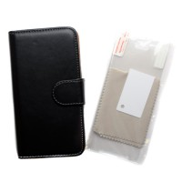 Pama wallet hard frame case & screen protector 3PK in black for Samsung S7