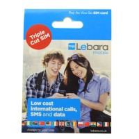 Lebara mobile pay as you go trio sim ( Full, Micro,Nano ) retail pack
