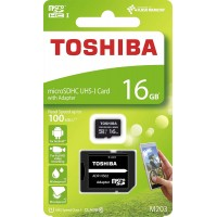 Toshiba Micro SDHC/XC 100mb/s 16GB class 10 memory Card with SD adapter