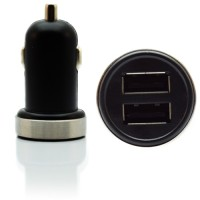 Pama universal twin-USB in car charger, 2 Amp - black