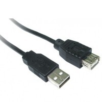 USB A male - A female extension lead 3 metres in black