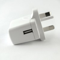 UK Mains Charger with 1 x USB Socket In White 1A